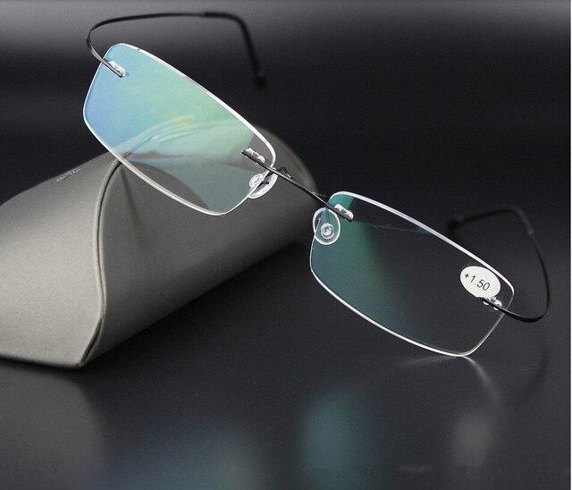 High Quality 3 Colors Unisex Ultra-light Titanium Alloy Rimless Reading Glasses Flexible Frameless Presbyopic Glasses