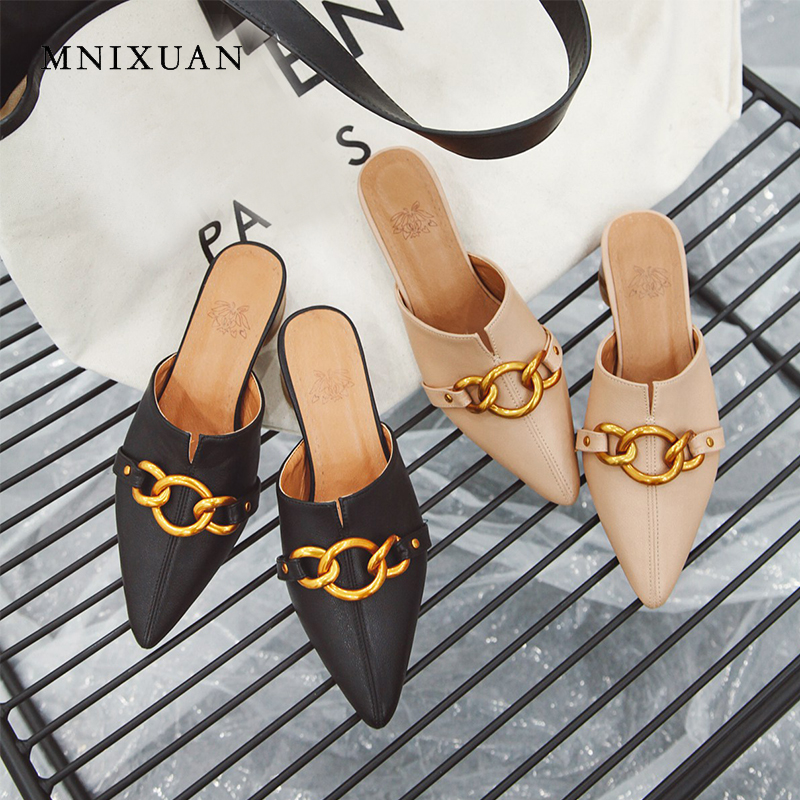 MNIXUAN New arrival 2019 spring summer pointed toe slip on mules shoes women medium heel outside