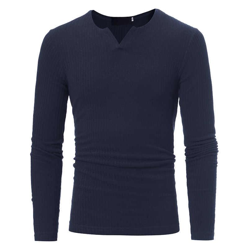 Быстро распродающийся 2018, европейские и американские трикотажные тонкие мужские футболки с v-образным вырезом и длинными рукавами Мужская футболка