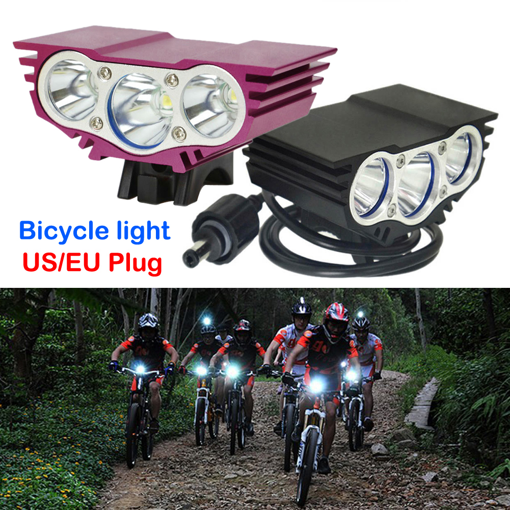 TSLEEN Waterproof Led Cycling Bicycle Bike Light 3*XM-L T6 Cree LED Flashlights Night Lamps +18650 battery Pack +EU US Charger outdoor solarstorm bike light headlamp 2 cree led bicycle waterproof headlight flashlights 8 4v 4 18650 battery pack charger