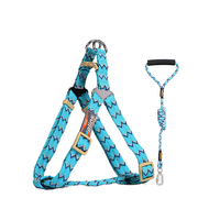 Nylon Pet Dog Collar Dog Leash Leather Harness No Pull Puppy Harness Adjustable Honden Riem Dla Psa Running Jogging Leash 45QY56