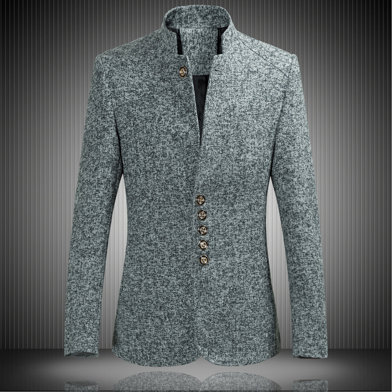 Casual Winter Spring Blazer Men Stand Collar Single Breasted Male Blazers Suit Plus Size 4XL Coat Terno Masculino