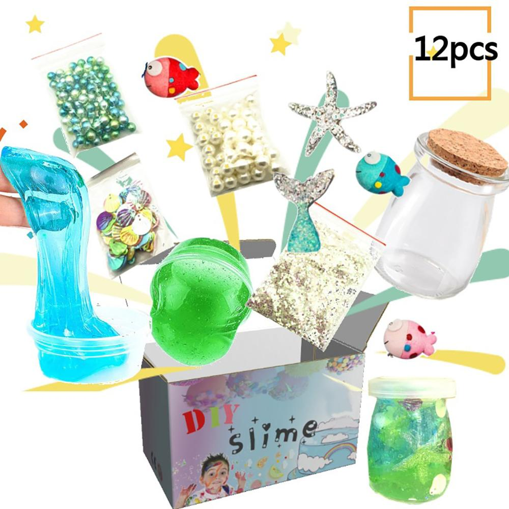 Us 6 12 32 Off Children Clay Toy Sime Package Diy Crystal Ocean Star Slime Mud Stress Relief Clay 12pcs Toy Girl Crafts Slime Material In Expression