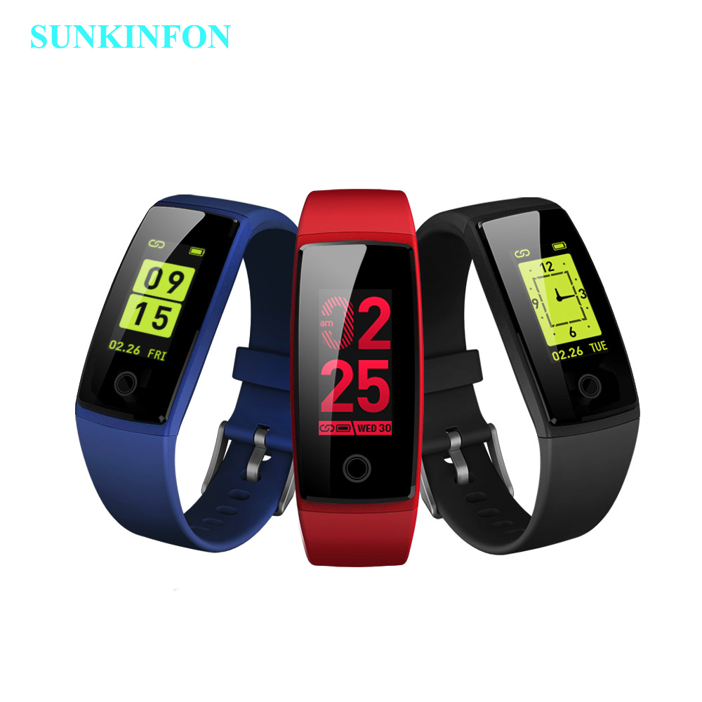 цена на Colorful Smart Wristband Fitness Bracelet Heart Rate Monitor Band Acitivity Track Pedometer Blood Pressure for iPhone X 8 Plus