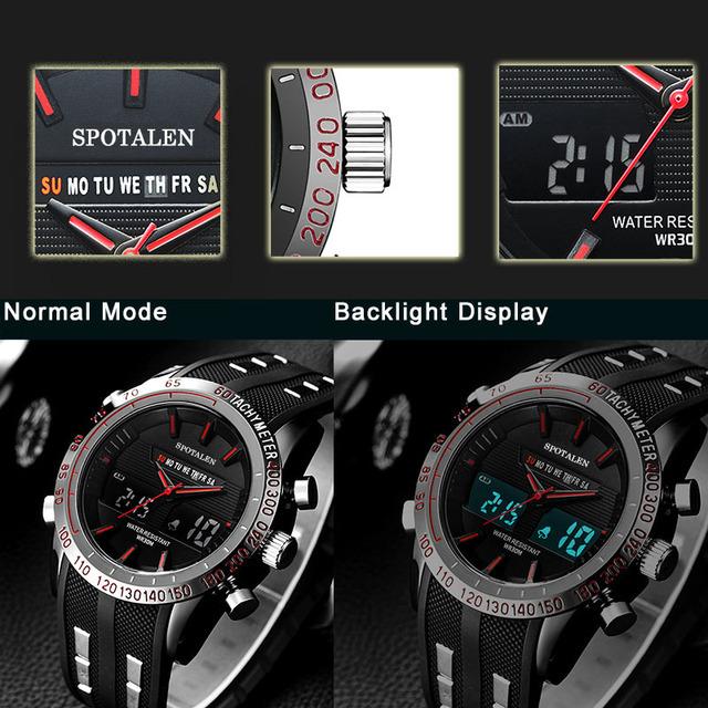 Reloj militar deportivo con pantalla LED Dual