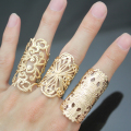 Ornate 3 Budded Cross Filigree Lace Flower Cut Out Aztec Stack Band Ring W8 Jewelry New