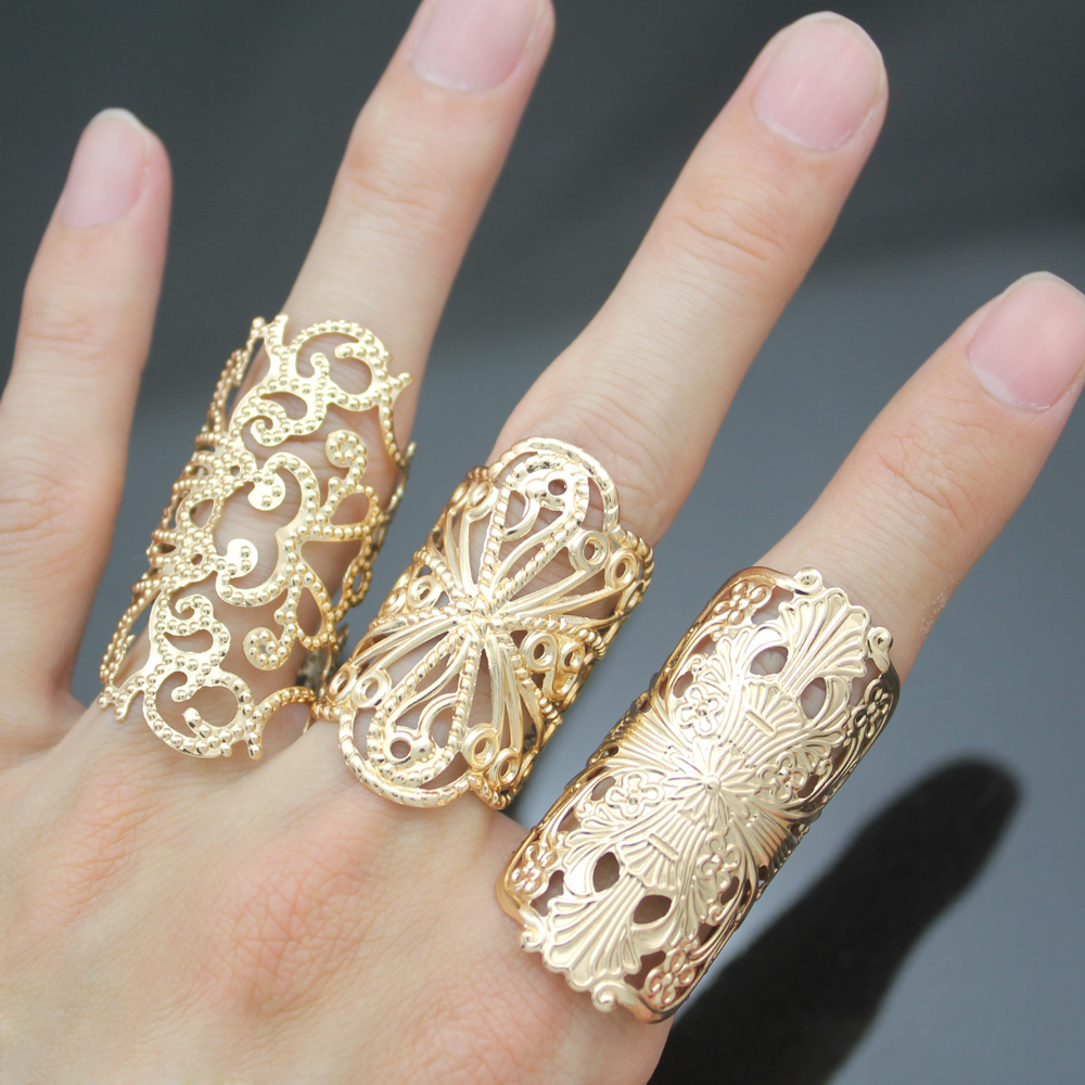Ornate 3 Budged Cross Filigree Lace Flower Cut Stack Band Anel Anillos para mujer Joyería Vintage Anillos Bague Wedding Biker