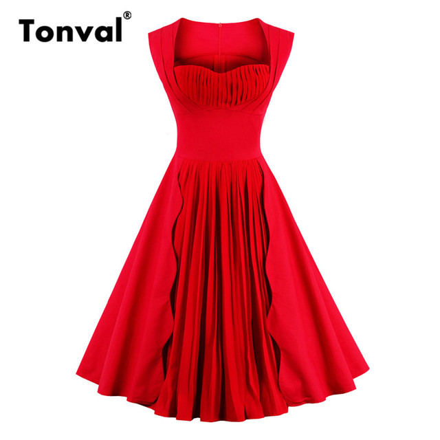 Tonval Plus Size Women Red Pleated Dress Stunning Christmas Party