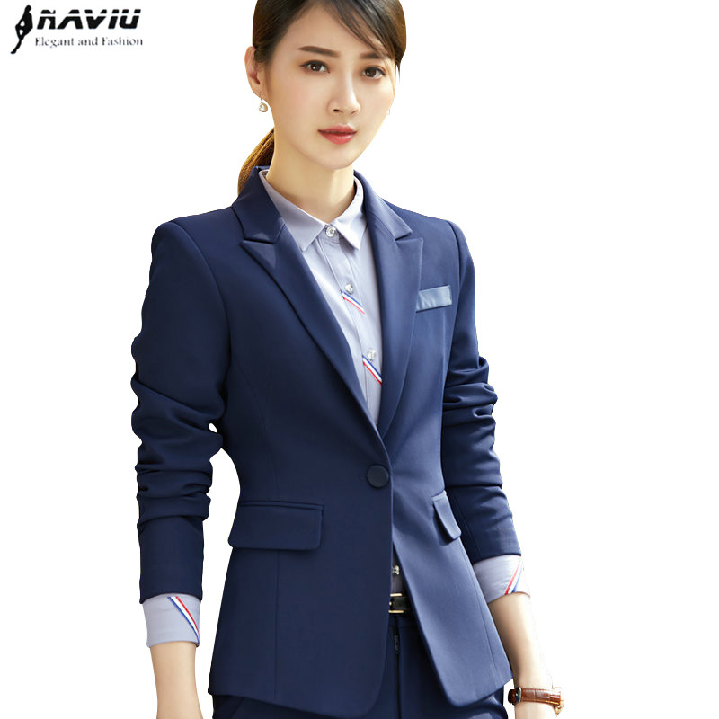 winter new fashion women pant suit formal long sleeve slim blazer and trousers office ladies plus