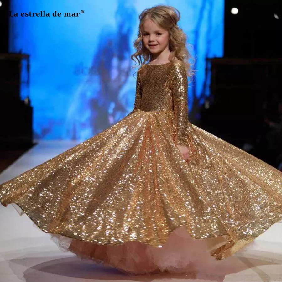 US $95.2 20% OFF|Pageant dresses for girls 2019 new O Neck a line gold  sequined long sleeve flower girl dresses long plus size girls ball gown-in  ...