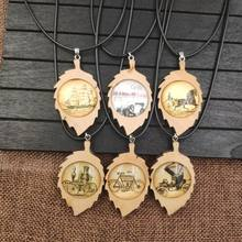 2019 Vintage Necklace Wood Wooden Pendant Rope Time Gem Retro Antique Sailing Carriage Bicycle Old Time Classic Gift AB015-020(China)