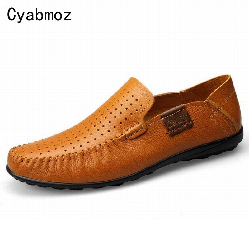 High Quality Large Size Men Casual Shoes Men Oxfords Genuine Leather Shoe Breathable With Holes Comfortable Soft Moccasins 45 46 uexia leather casual shoes men fashion wedding retro oxfords breathable black high top lace up high quality flats male moccasins