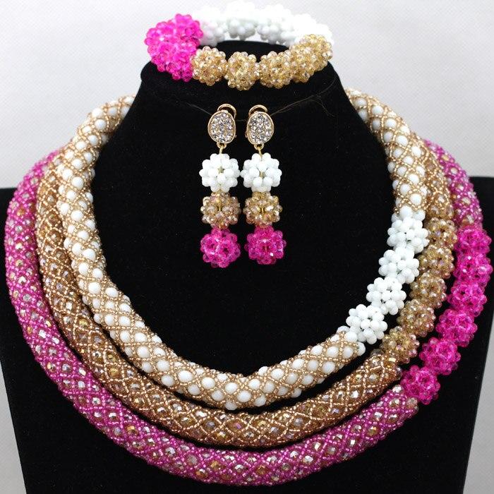 Belle 3 couleurs indien or perles bijoux africains ensemble cristal perlé collier de fiançailles ensemble femmes partie livraison gratuite QW658