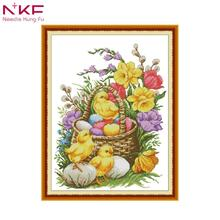 NKF Cross stitch kit canvas printing DIY DMC unframed flower and brid set Embroidery Needlework for Home Decoration