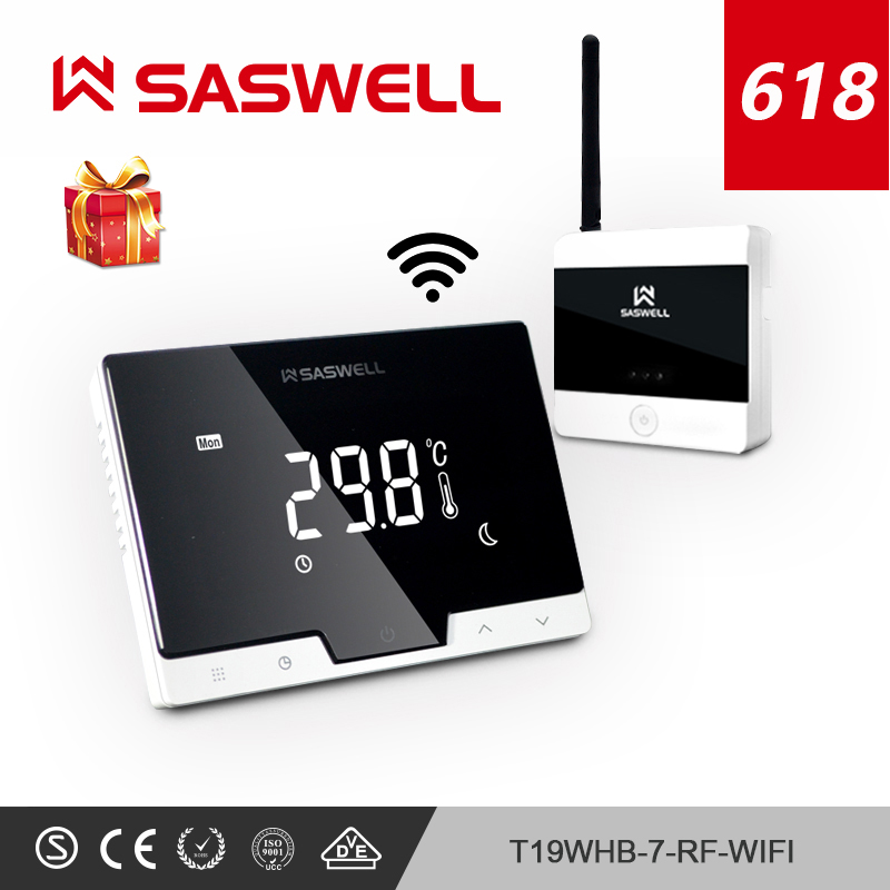 Saswell Wifi Thermostat Temperature Controller Smartphone App Flat Back Wall Mount Wireless Programmable Thermoregulator