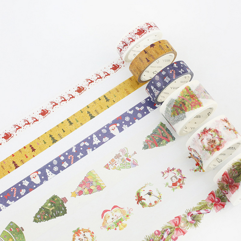 Christmas decoration washi tape DIY decoration scrapbooking planner masking tape adhesive tape kawaii label sticker stationery ezone 1pc kawaii watercolor sakura petal washi tape diy decorative scrapbooking sticker planner masking adhesive tape stationery