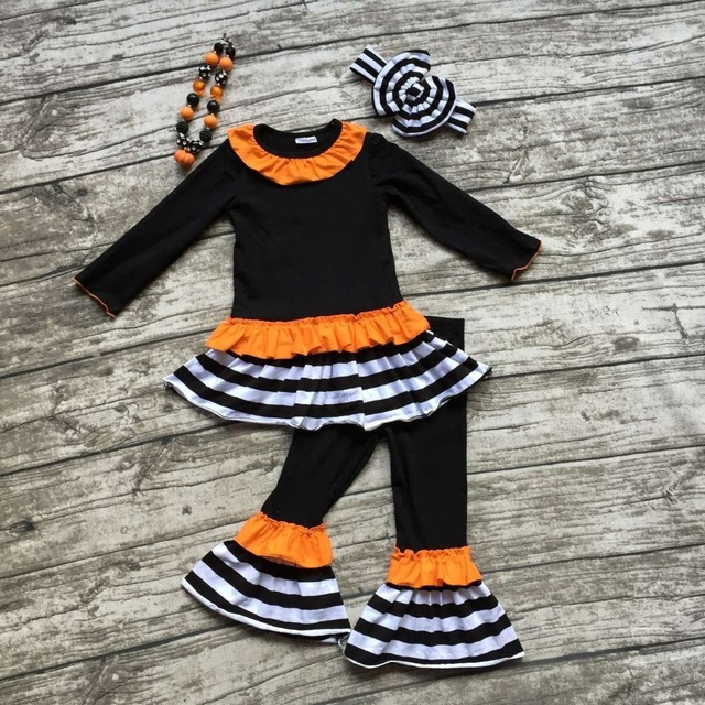Fall/winter baby clothes boutique black orange striped outfits clothing pant long sleeves ruffles matching bow and necklace