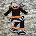 Otoño/invierno ropa de bebé boutique de negro naranja trajes a rayas ropa pantalón largo mangas volantes arco a juego y collar
