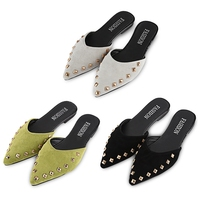 2017 New Arrived Woman Flip Flops Stylish Rivet Embellishment Pointed Toe Ladies Flat Slippers Lazy Style