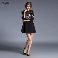 WZJHZ Printemps et D'été dentelle couture robe Lourd Papillon Broderie Creux Sept-Manches de Nouvelles Femmes De Mode Casual Robe