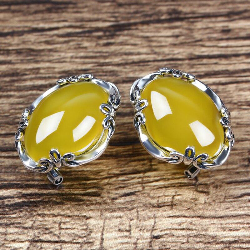 JIASHUNTAI 925 boucles d'oreilles en argent Sterling calcédoine Vintage Agate jaune pierre précieuse pour les femmes boucle d'oreille Thai argent bijoux fins - 3