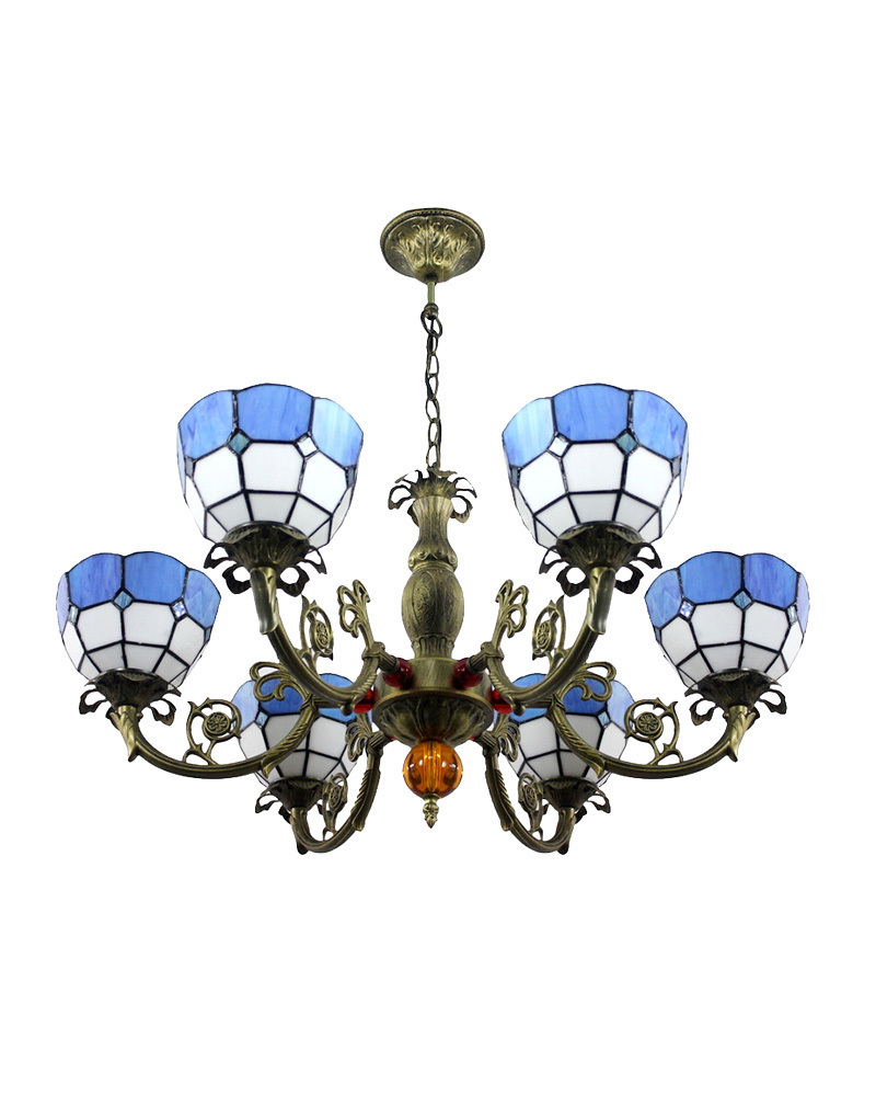 Free Shipping Chandeliers Lamps Tiffany Style Blue Yellow Stained Gl Meditteranean With 6 Lights Sea Bedroom E27 In From