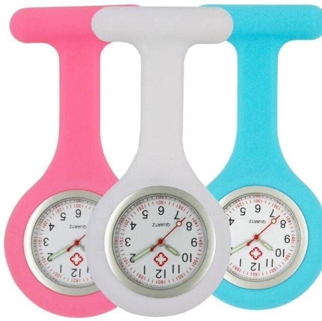Infirmière en silicone lumineux montres femmes dames médecin FOB montres de poche en gros médecin médical hôpital quartz accrocher montres