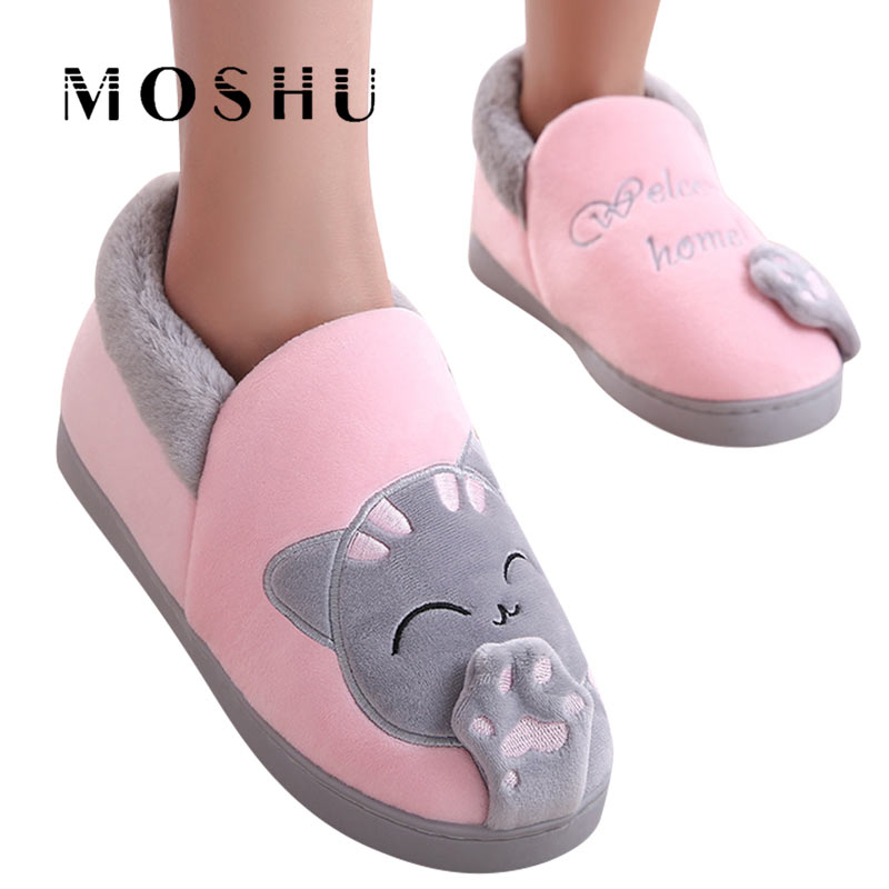Cat Slippers House Animal-Footwear Couple Indoor Shoes Plush Winter Cute Woman Ladies