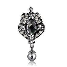 В винтажном стиле, под старину Посеребренная Бриллиантовая и жемчужная роскошная брошь с кристаллами