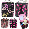 Korean Red Lip Rose Honeybee Pattern Storage Bags Zipper Pouch Jewelery Toiletry Wash Organizer Case Handbag Makeup Tool Kit