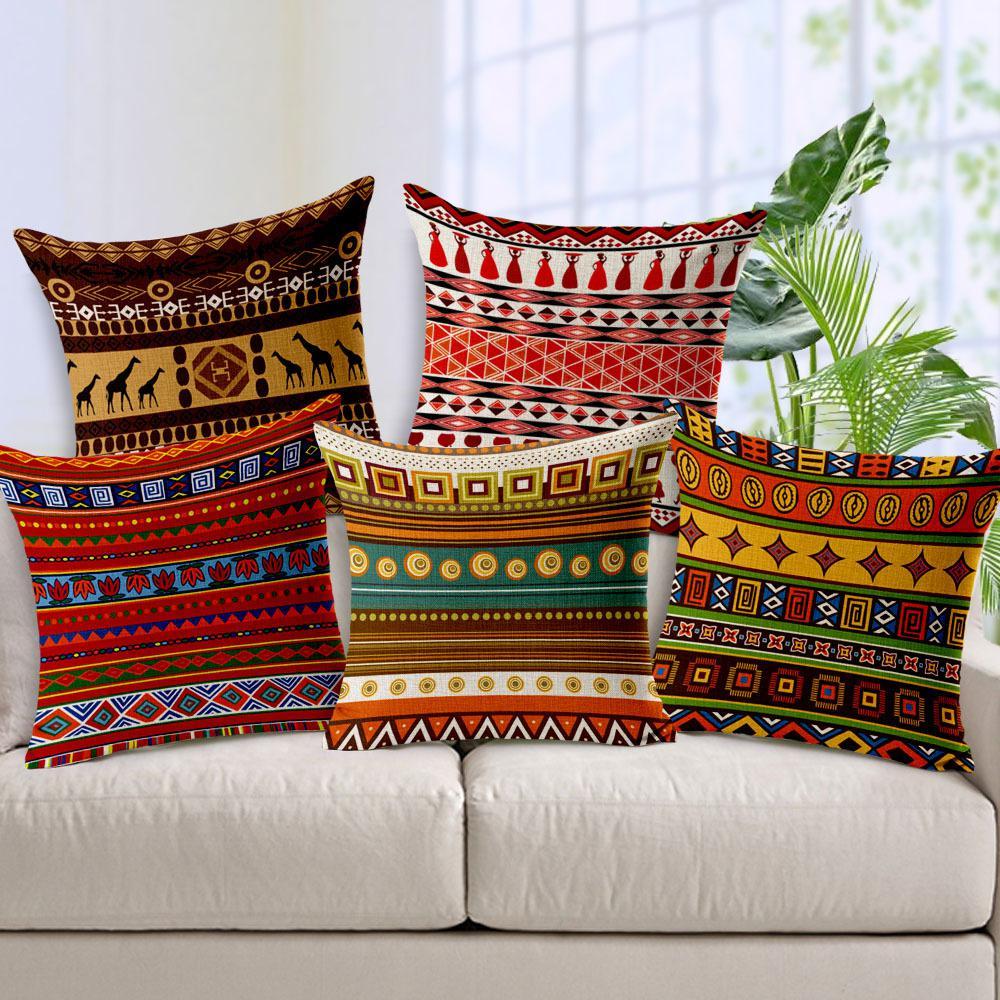 1 pc national africain style rayé coton lin coussin décoratif à la maison taies d