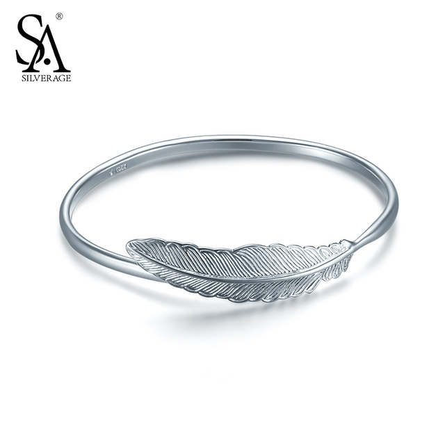 Silverage Real 925 Sterling Silver Feather Bracelet Bangles For Women Wedding Gifts Simple Leaf Bangle