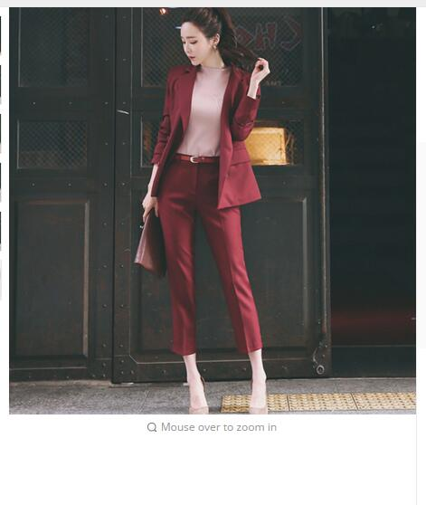 Fashion Two Pieces Sets Lapel Double Breasted Jacket and Slim Pant Suits Women Blazer Suits Office Ladies Outfits Business Set