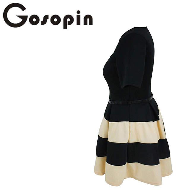 05257d02f6f Online Shop Gosopin Big Girl 3XL Casual Autumn Short Sleeve Apricot Stripes  Detail Belted Plus Size Skater Dress Vestido de Festa LC22806