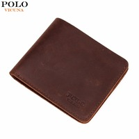 VICUNA POLO Famous Brand Men S Genuine Leather Wallet Vintage Crazy Horse Leather Man Wallet Simple