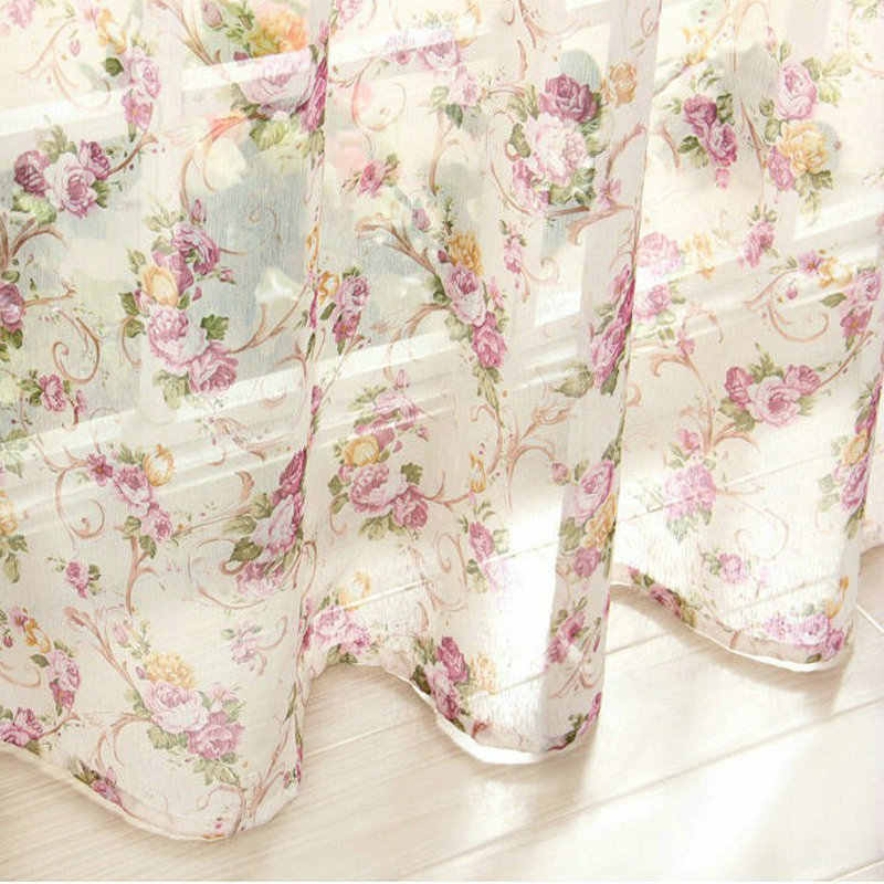 European Floral Style Window Curtain For Kitchen/ Living Room Rustic Elegant Door  Bedroom Voile Blinds Customized Made Drapes