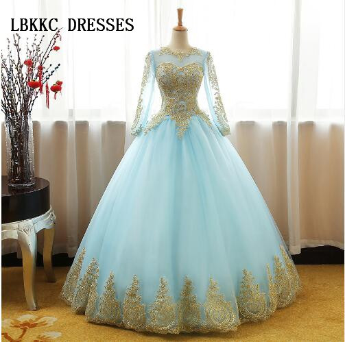 03cc44923b6 Champagne Princess Quinceanera Dresses Long Sleeve Ball Gown Girls Masquerade  Sweet 16 Dresses Ball Gowns Vestidos De 15 Anos