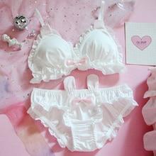 Japanese cute sexy lingerie girl Lolita rabbit ears underwear no steel ring bra triangle cup Underwear Women bra set