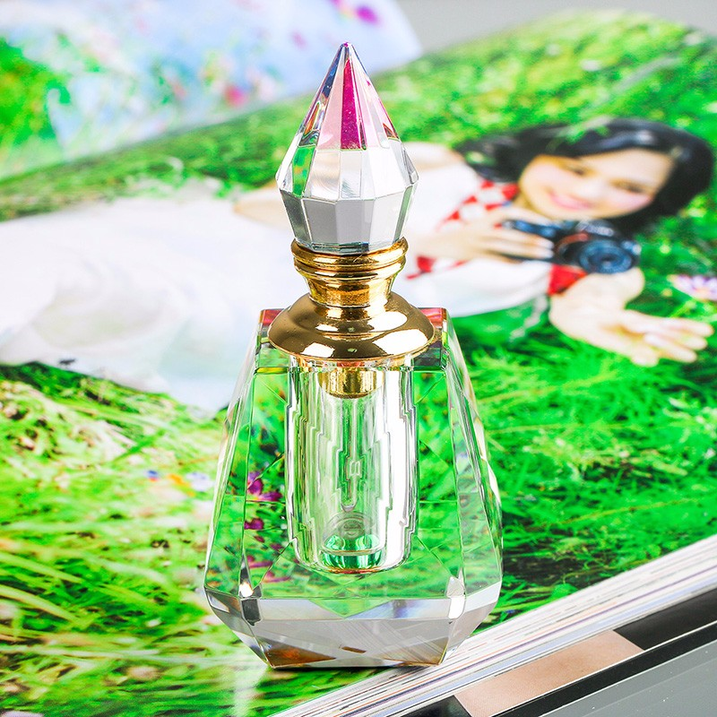 3ML Clear K9 Crystal Refillable Woman Perfume Bottle Vintage Arc-shaped Aurora Borealis Empty Container wgold Trim Glass Dauber