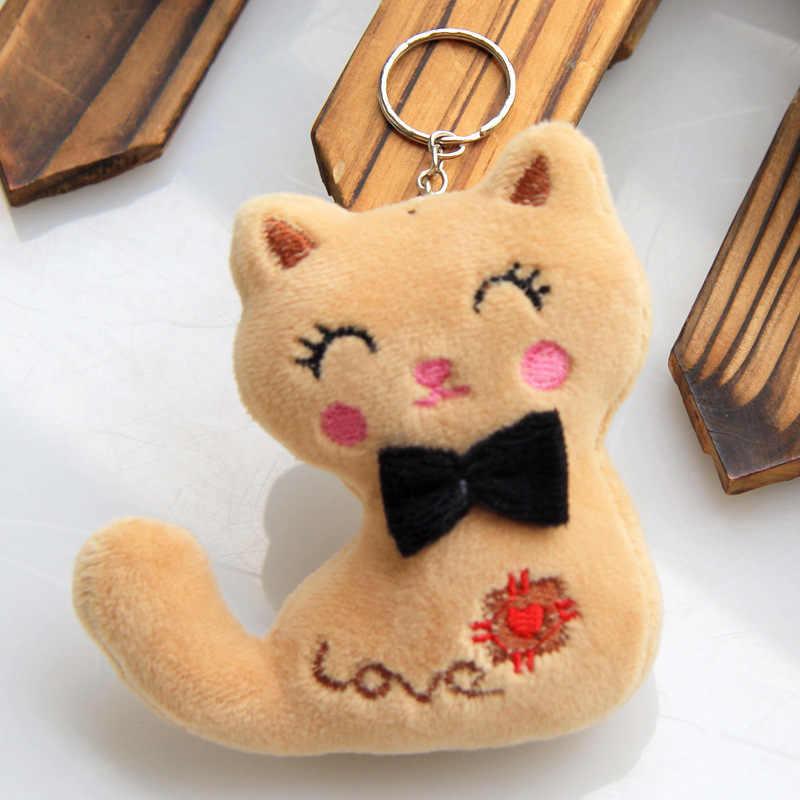 Pequeño tamaño 8CM peluche Animal de peluche gato llavero juguete de la fiesta de los niños ramo de muñecas 3 colores animales de peluche
