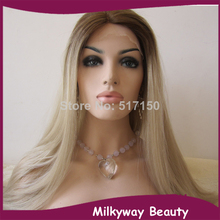 Free shipping lace front two tone ombre brown blond gray color silky straight heat resistant synthetic lace front wig