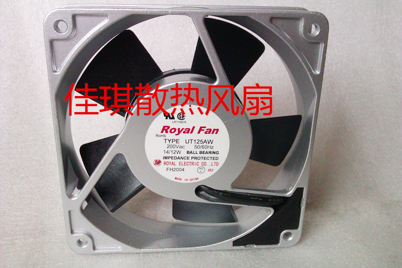 Emacro For Royal Fan UT125AW Server Square Fan AC 200V 14/12W 120x120x25mm 2-Pin emacro orix mrs16 dta ac 230v 0 25a 160x160x60mm server square fan