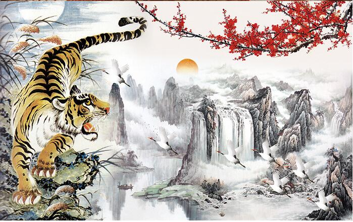 3d Room Wallpaper Custom Mural Non Woven Wall Sticker Chinese The Tiger Down Mountain Painting Photo In Wallpapers From Home
