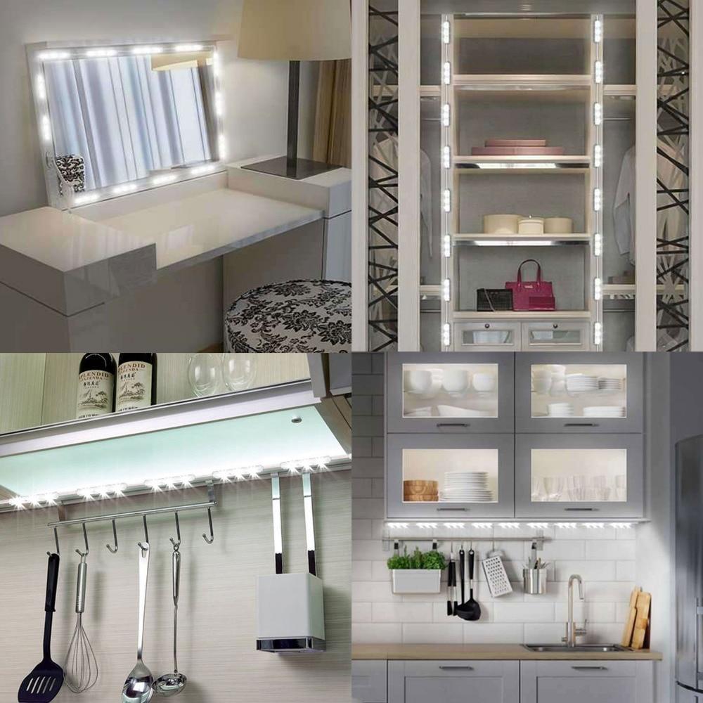 3M 5630 60LEDs Mirror Light LED Module Strip Under Cabinet Lamp Waterproof Dresser Cabinet Bookcase Adjustable Lighting Strip