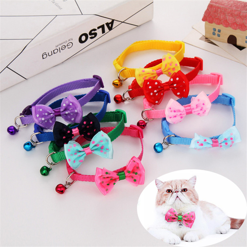 1pcs Hot Sale Adjustable Pet Bowknot Necktie Collar Cute Bow Tie Bell Kitten Puppy Pets Supplies Free Shipping