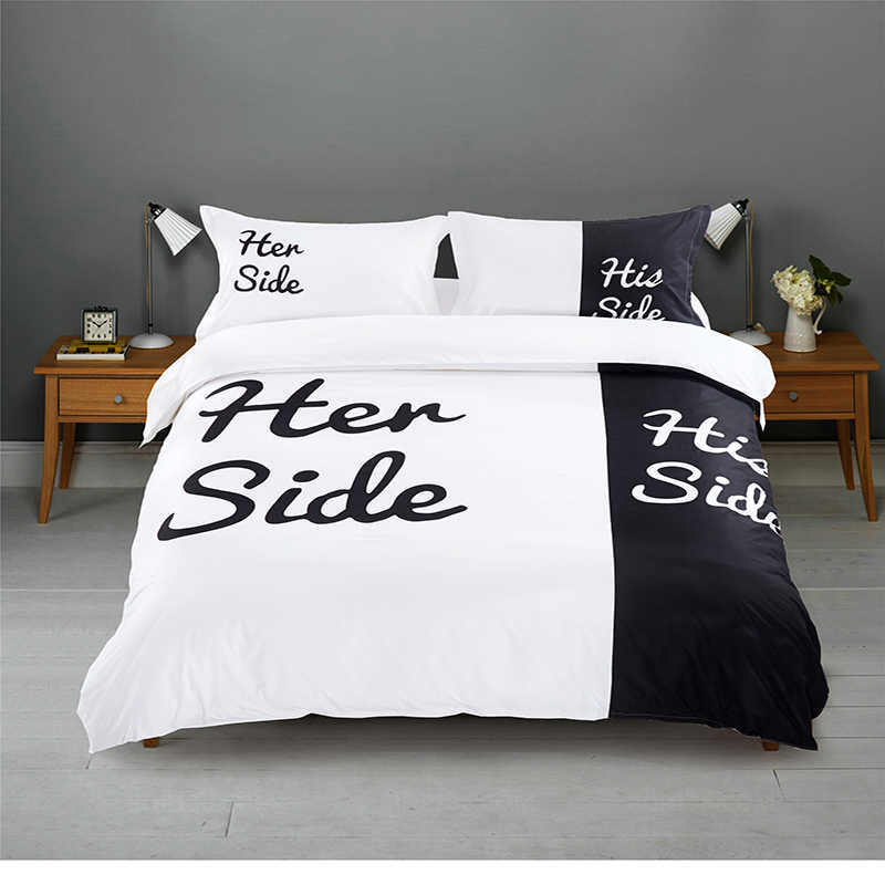 Black&white Her Side His Side Bedding sets Queen/King Size Double bed 2/3pcs/4pcs Bed Linen Couples Duvet Cover Set