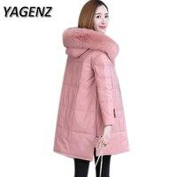 6xl натурального меха лисы Для женщин зимние пальто с капюшоном 2018 Новый теплый толстый Подпушка кожаная куртка длинная верхняя одежда высок