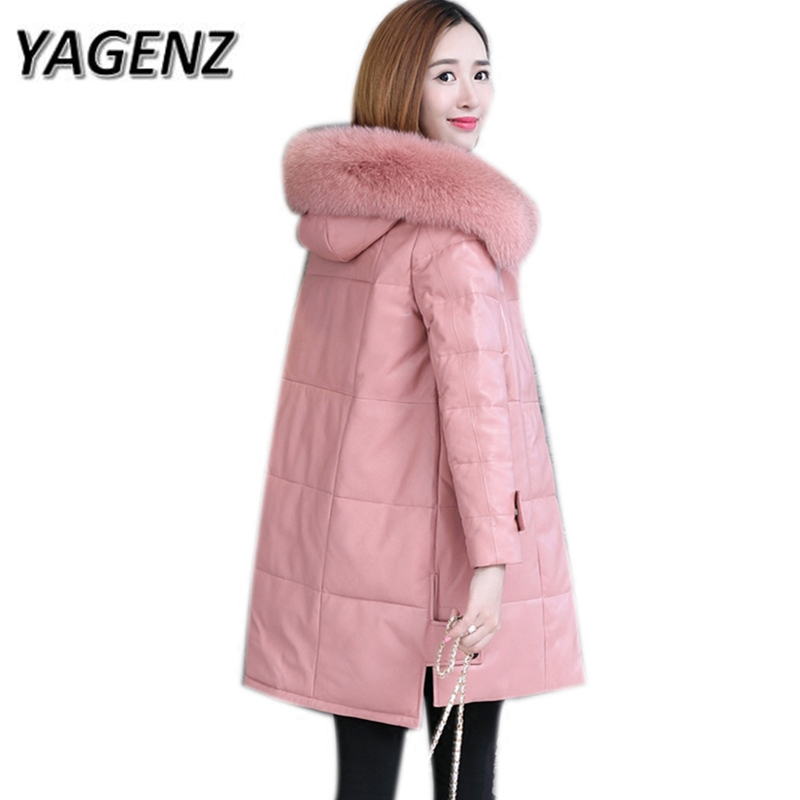 6XL Genuine Fox fur Women's Winter Hooded Coats 2018 New Warm Thick Down Leather Jacket Long Outerwear High-grade Casual Jackets 2018 high grade middle aged down fox fur collar winter jacket hooded coats large size thick warm parkas women long outerwear 6xl
