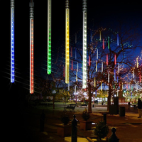 2pcs Solar power Waterproof 10Tubes 360Leds Meteor Shower Rain LED String Lights For Outdoor Gardens Christimas Party Tree Decor