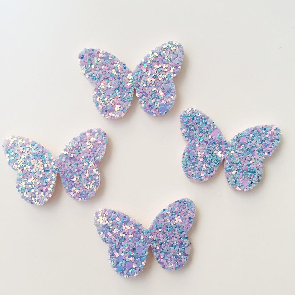 16pcs  Rainbow Glitter Paillett Felt Fabric Butterfly Patches Appliques wedding